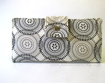 Handmade  wallet clutch with black and grey medallions - serene colors - soft colors - ready to ship - wallet for women