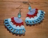 fanshaped crochet earings, multicolored