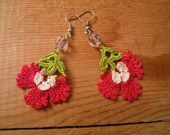 crochet flower earrings, pink