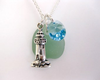 Charm necklace Sterling necklace seaglass necklace lighthouse jewelry