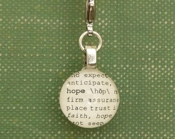 Hope Dictionary Word Clip-on Charm Antique Vintage Look Gift by Kristin Victoria Designs