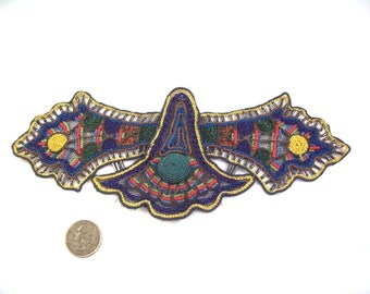 Antique Colorful Handmade Metal work, Embroidery and Glass Beaded on a silk net (Tulle) Applique 5 of 5