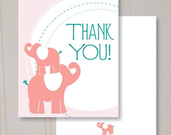 Elephant Circles, Thank You Cards, Set of 10 Blank Folded, Professionally Printed