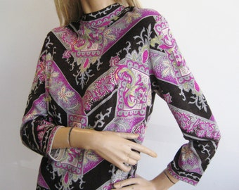 Vintage 60s Wiener Modell Austrian Vienna Black & Purple Wool Knit Jersey Tunic Shirt