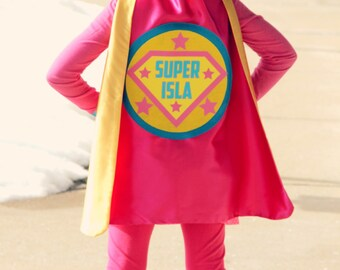 Girls FULL NAME Custom Shield Cape - Personalized Superhero Cape - Girls Make Believe Gift - Superhero Party - Fast Shipping -Easter Basket
