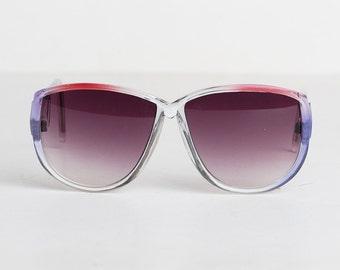 Vintage 70s Purple & Red Oversized Sunglasses