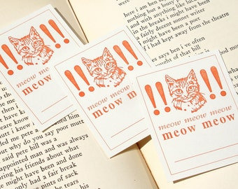 Meow Meow Meow - Ridiculous CAT Letterpress Bookplates or Silly Name Tags - Set of 10