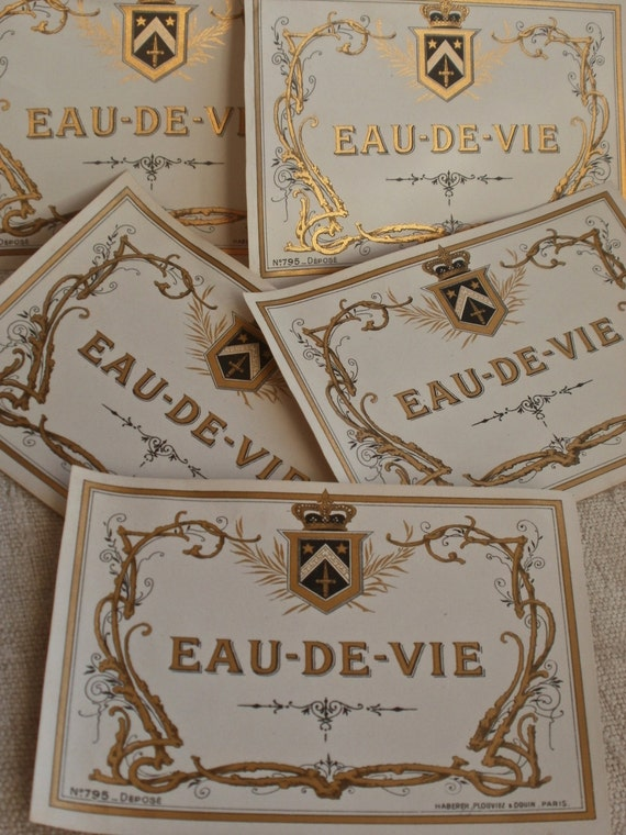 4pc Vintage Wine Labels French Wine Labels Eau-de-Vie Paper