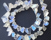 Rare Brand New, Amazing RAINBOW MOONSTONE Hammered Rock Nuggets TIP Drilled ,8-12mm,Full 8 Inch Strand,Amazing Rare Item
