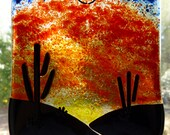 Tucson Sunset in fused glass