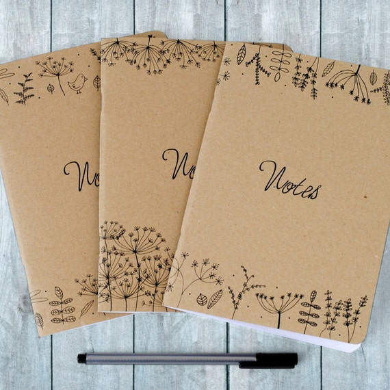 Set of 3 Nature Illustration Notebooks