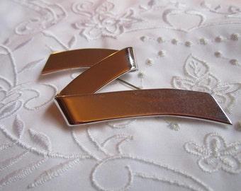 Vintage Monet Silver Tone Modern Form Brooch