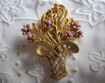 Vintage Basket Brooch with Leaves and Flowers with Purple Centers