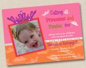 Princess Tiaras and Pirate Hats Custom Birthday Party Invitation Design- any age