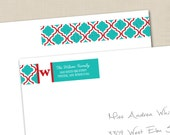 Coordinating Wrap Around Adhesive Return Address Labels (printed sets of 50) to match any Tints and Prints by Tierney card