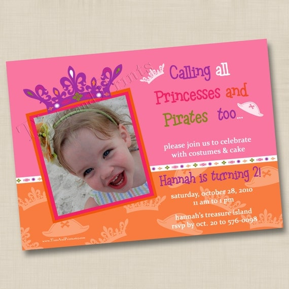 Princess Tiaras and Pirate Hats Custom Birthday Party Invitation Design- any age