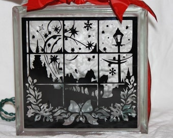 Dashing through the snow DIY decal for glass block