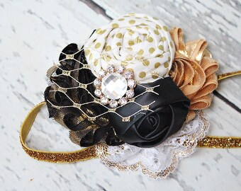 Metallic Nights- black, white and gold holiday headband with netting, lace, rosette and chiffon blooms