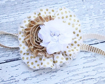 Coming Up Gold- ruffle and chiffon flower headband in gold and white