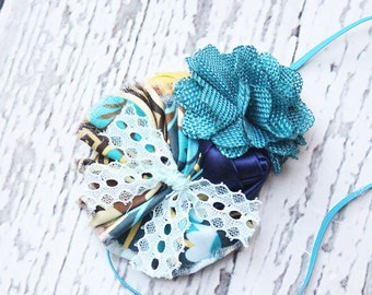 Breath of Fresh Flair-  rosette, ruffle and chiffon flower headband in navy teal and yellow
