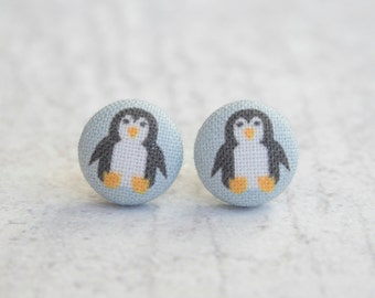 Penguins Fabric Covered Button Earrings