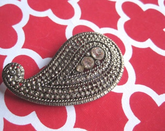 Vintage Silver Tone Paisley Brooch / Pin  with Crystals Beautiful #freeshipping FREE SHIPPING