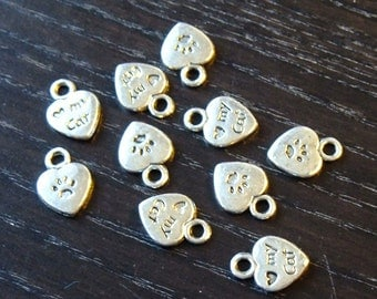 BULK (pkg/30) I Love My Cat Heart Charms paw prints - for pendants, jewelry making, crafts, scrapbooking