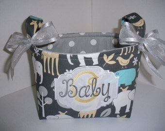 Blue Gray Alexander Henry Zoo Animals Organizer bin / Basket / Small Diaper Caddy - Personalization Available