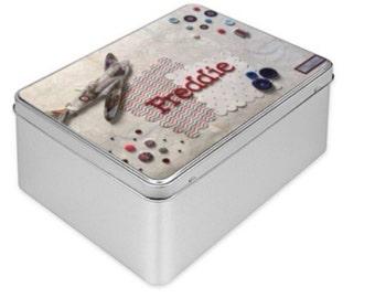 Tin Box, personalised, handmade design, Spitfire airplane, keepsake, memory box, birthday boy gift, customised box, biscuit box, tin art