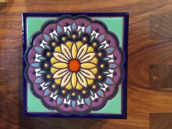 6x6 Mandala Hand Glazed Decorative Art Tile