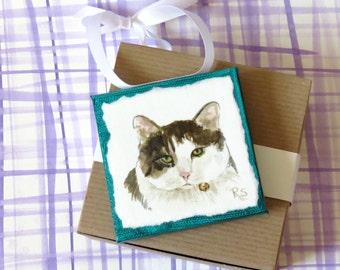 Personalized Pet Mini, Original Hand Painted Watercolor Pet Portrait, Decorative Ornament
