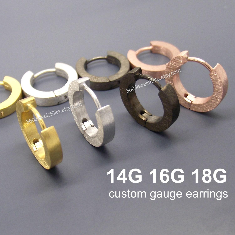 Gauge Hoop Earrings Men S Gold Huggie Custom Men S