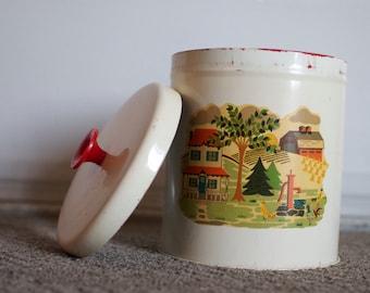 Vintage Metal Kitchen Canister or Cookie Jar