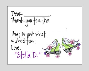 Roller Skate Folded Note Cards or Fill In Note Cards ~ Your choice (Digital File available)