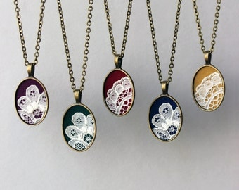 Lace Necklace, Unique Necklaces for Women, Navy Blue Pendant, Green, Red, Purple, Mustard Yellow Jewelry, Unique Gift, Boho Wedding Jewelry