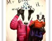 Mr Badger print - A4 print