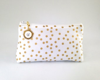 White, Ivory and Metallic Gold Confetti Polka Dot Monogrammed Zipper Clutch   Cosmetic or Makeup Bag   Custom Bride or Bridesmaid Gift