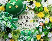 St. Patrick's Day Wreath with Annalee Chef  Hat  and Luck of The Irish Sign