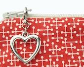 Silver heart zipper pull charm for purse - decorative zipper bag embellishment - clip on metal purse charm