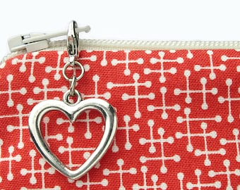 Silver heart zipper pull charm for purse - decorative zipper bag embellishment - clip on metal purse charm
