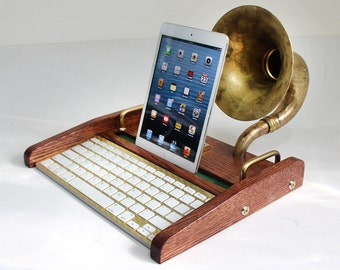 iPad Workstation - Keyboard - Tablet Dock plus Acoustic Speaker Upright Horn, iPad, IPhone,  Bluetooth Keyboard Computer Desktop Workstation