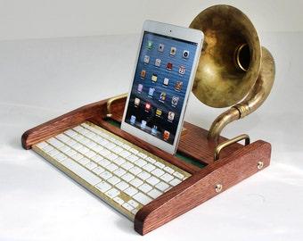 iPad Workstation - Keyboard - Tablet Dock plus Acoustic Speaker Upright Horn, iPad, IPhone,  Bluetooth Keyboard Computer Desktop Workstation