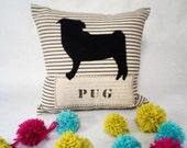 Black Pug Pillow - Felt Pillow - Decorative Pillow Cushion Cover, Felt Pet Pillow, Custom Pet Pillow, Pug Dog Pillow, Pug Silhouette Pillow