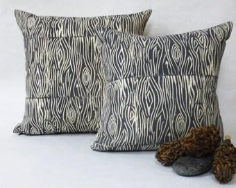 Hand Printed Wood Grain Pillow - Grey Wood Print - Woodland Collection