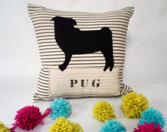 Black Pug Pillow - Felt Pillow - Decorative Pillow Cushion Cover, Felt Pet Pillow, Custom Pet Pillow, Pug Dog Pillow, Pug Silhouette Pillow