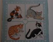 Vintage finished cat cross stitch cat collector's four cats in various poses  12 inches square