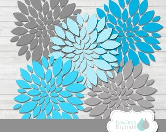 SALE Dahlias Blooming Flowers Digital Clipart Commercial or Personal Use INSTANT DOWNLOAD Dahlia Daisy Clip Art Graphics