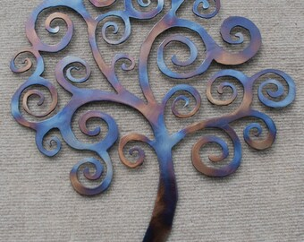 Spiral swirly tree Metal Art protected with crystal clear coat