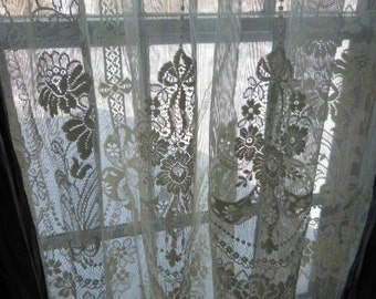 One Vintage Ivory All Cotton Lace Curtain Panel
