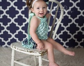 Mint and navy ruffle bloomers diaper cover romper sunsuit baby newborn infant toddler girl